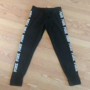 VS PINK logo black yoga leggings joggers medium